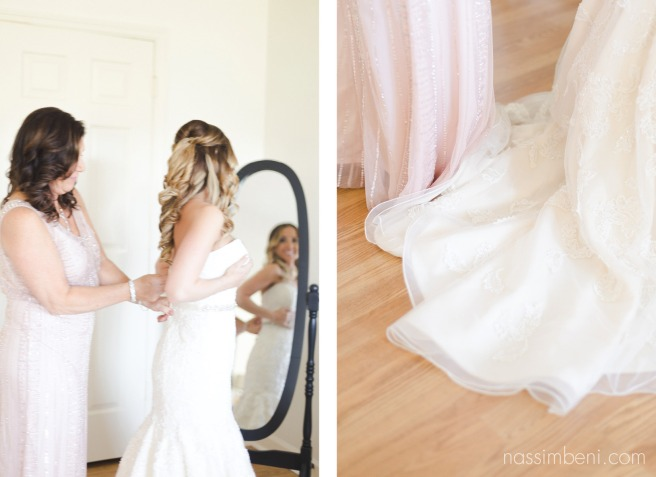 mother zips up daughters wedding dress at Bellewood Plantation in Vero Beach Florida by Nassimbeni Photography