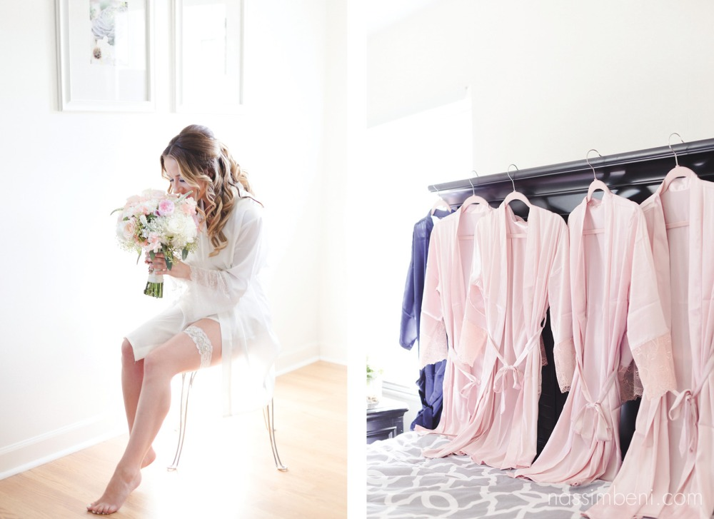 blush pink robes with lace trim at Bellewood Plantation in Vero Beach Florida by Nassimbeni Photography