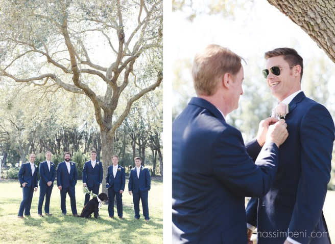 groomsmen photo and best man adjusting grooms boutonnière Bellewood Plantation in Vero Beach Florida by Nassimbeni Photography