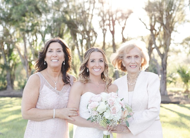 Generations photo of bride, mother and grandmother at Bellewood Plantation in Vero Beach Florida by Nassimbeni Photography