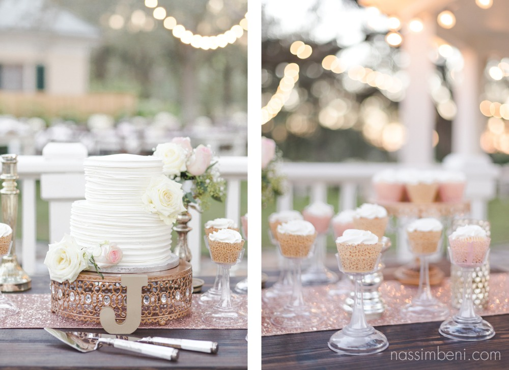 Blush pink cake table decor at Bellewood Plantation in Vero Beach Florida by Nassimbeni Photography