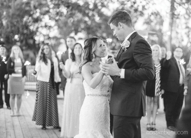 Graceful bride and grooms sparkler first dance at Bellewood Plantation in Vero Beach, Florida by Nassimbeni Photography