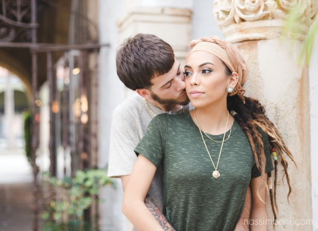 bride with dreads in worth avenue engagement session by nassimbeni photography