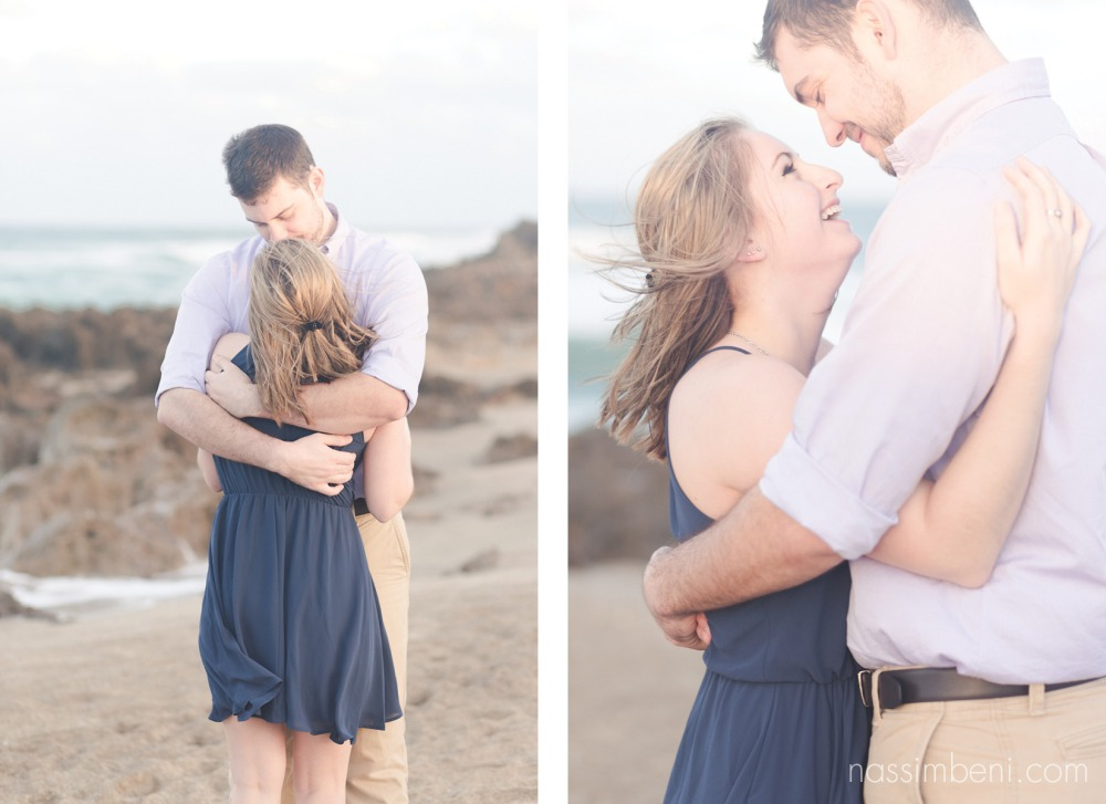 Hugging couple at the beach in stuart florida for house of refuge engagement photos by nassimbeni photography