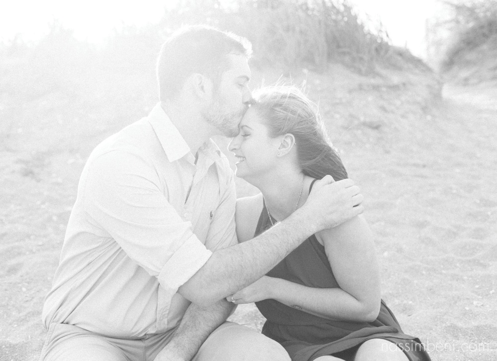 black and white beach engagement photos by nassimbeni photography at the house of refuge