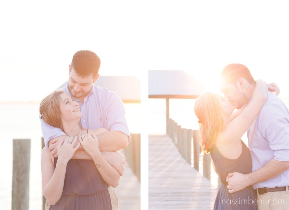 sunset photos of couple on the dock in stuart florida in front of house of refuge by nassimbeni photography