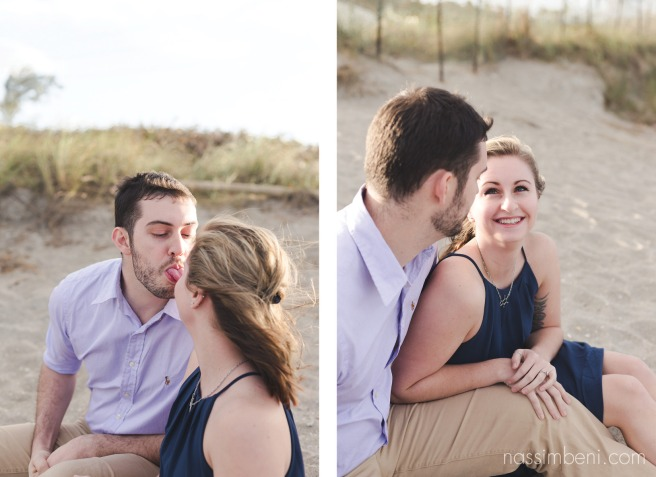 fun couple sitting at the beach for engagement photos in stuart florida in front of the house of refuge by nassimbeni photography