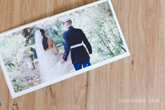 first page of Cassidy and Bryce heirloom album for Old city hall in Ft Pierce wedding by Nassimbeni Photography