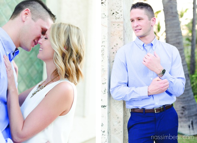 engagement photos at the edge of worth avenue in west palm beach by nassimbeni photography