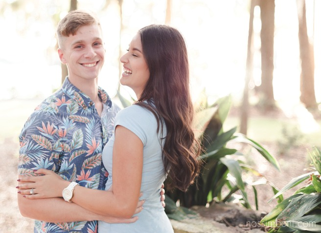 golden hour engagement photos by nassimbeni photography at the kraft azalea garden in winter park florida