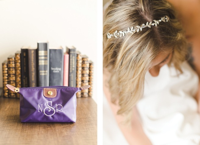 wedding headband and purples bridesmaid gift bag for forest inspired wedding in ft pierce florida by Nassimbeni Photography