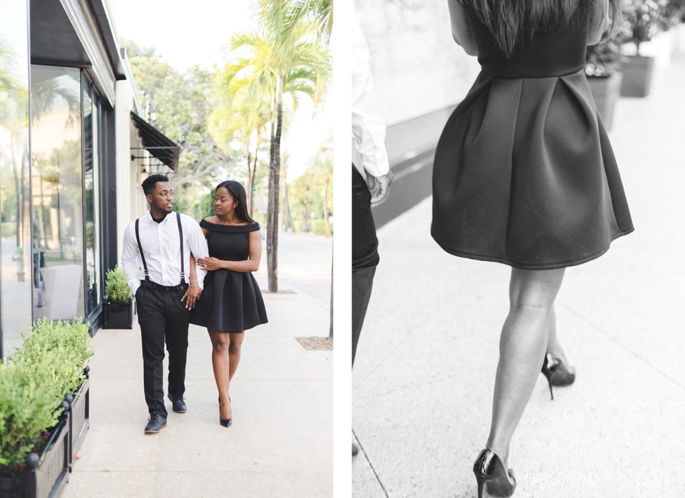 walking down worth avenue for classy engagement session by nassimbeni photography