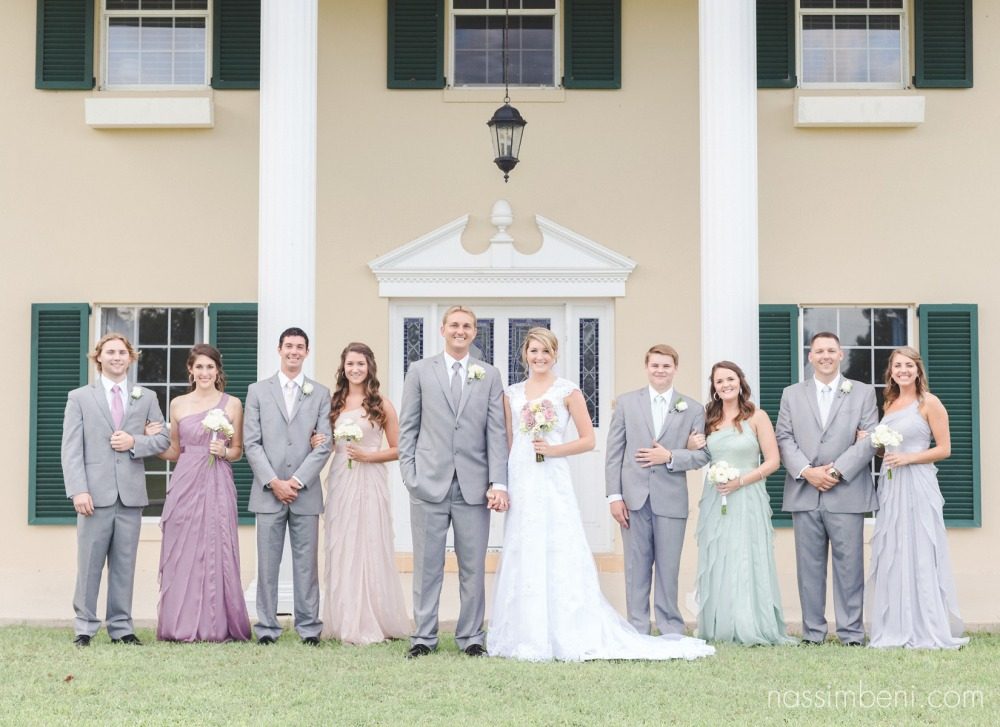 multi colored bridal party a bellewood plantation wedding venue in vero beach florida by nassimbeni photography