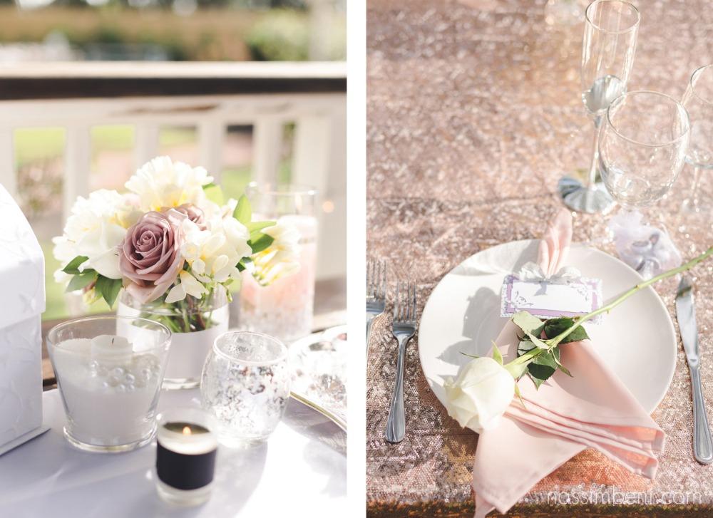 table settings at bellewood plantation wedding by nassimbeni photography