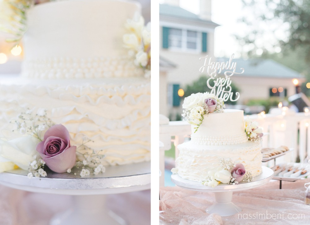 happily ever after cake topper for two tier cake with purple flowers