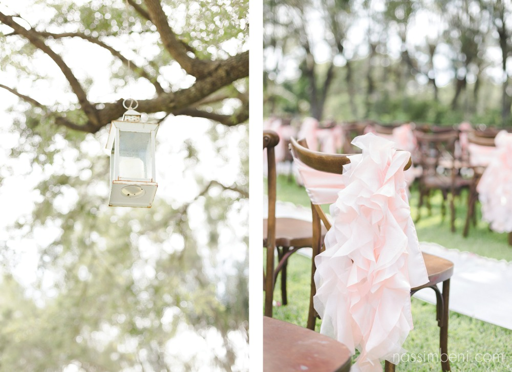 pink wedding ceremony and brown barn chairs for bellewood plantation wedding ceremony in vero beach florida by nassimbeni photography