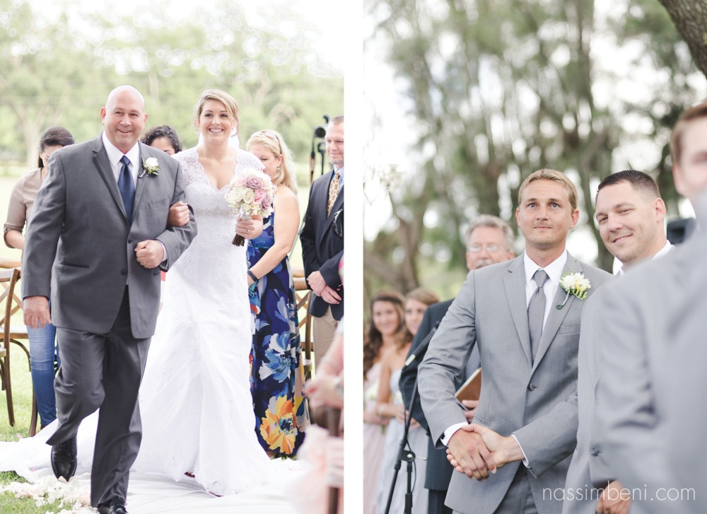 bride walks down the isle and groom reaction as his bride approaches at bellewood plantation wedding ceremony by nassimbeni photography