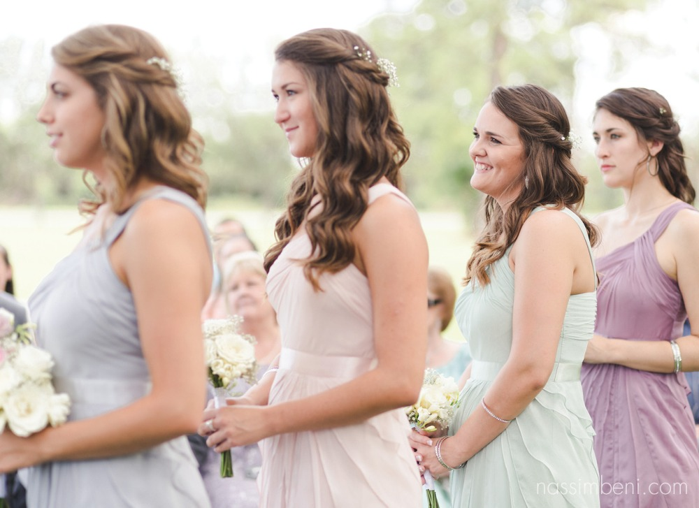 bridesmaids reactions during bellewood plantation wedding ceremony by nassimbeni photography