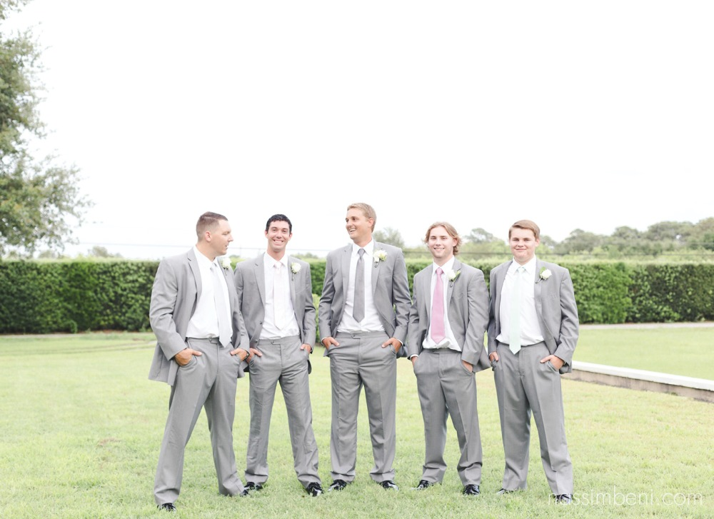 groomsmen with different color ties at bellewood plantation wedding venue in vero beach florida by nassimbeni photography