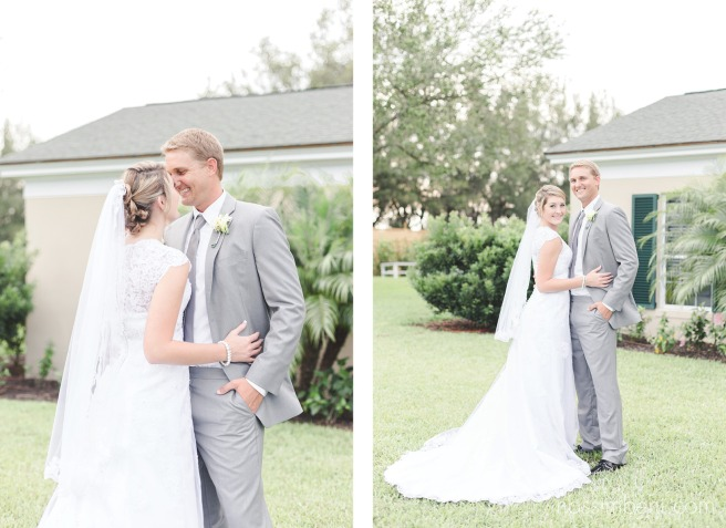 bride and groom in gray in front of bellewood plantation wedding venue in vero beach florida by nassimbeni photography