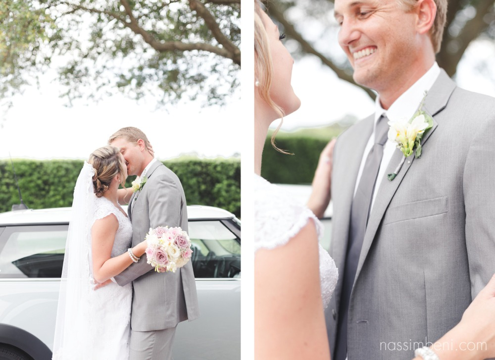 gray suit groom and short sleeve bride in front of mini cooper getaway car by nassimbeni photography at bellewood plantation wedding