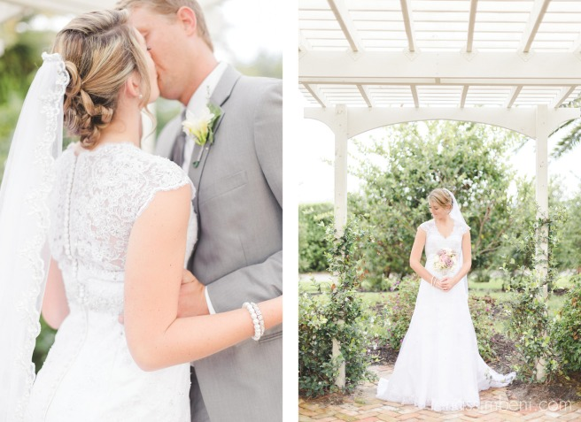 bride and groom under bellewood plantations garden arch ceremony location