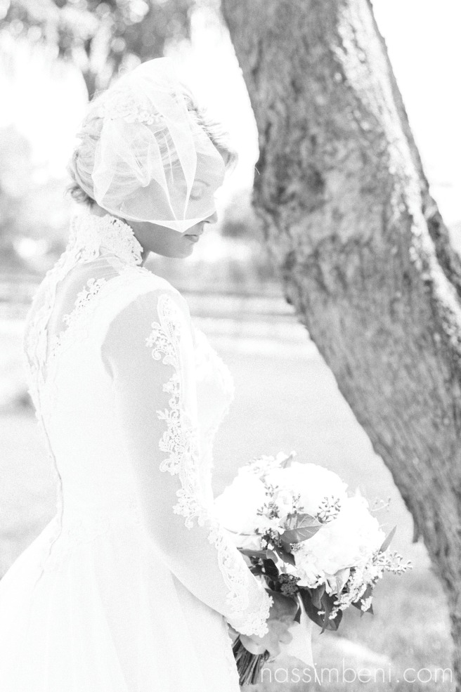 black and white bridal portrait in vintage wedding gown
