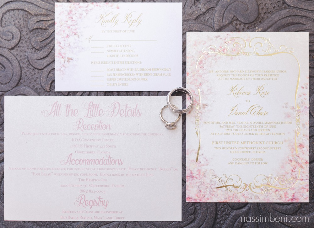 vintage wedding invitation suite with pink and floral details by nassimbeni photography