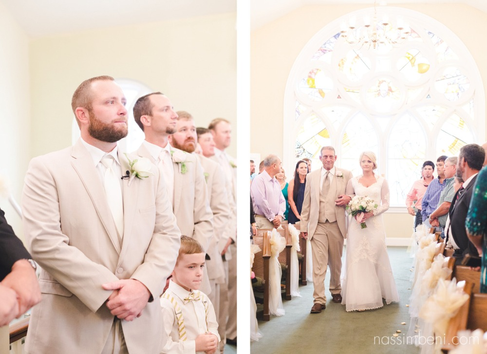tears in grooms and brides eyes as she walks down the aisle with her dad by nassimbeni photography