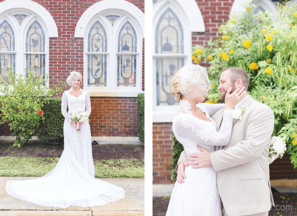 vintage wedding dress and cream suit groom by nassimbeni photography