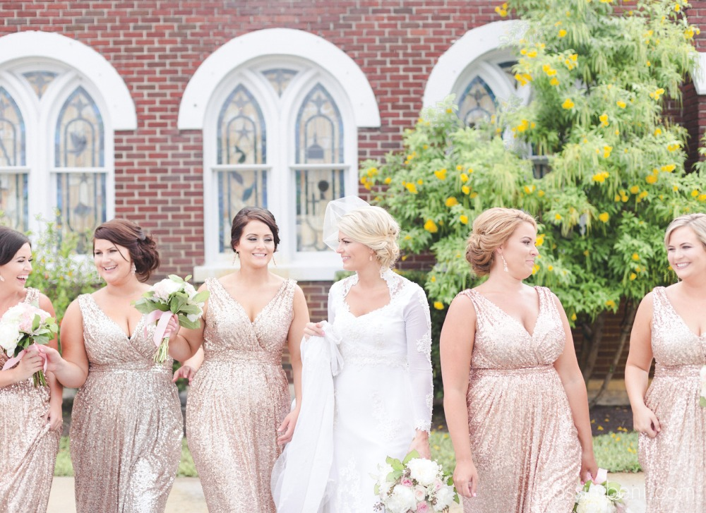 vintage bride and modern sequin bridesmaids at first united methodist church in okeechobee wedding by nassimbeni photography