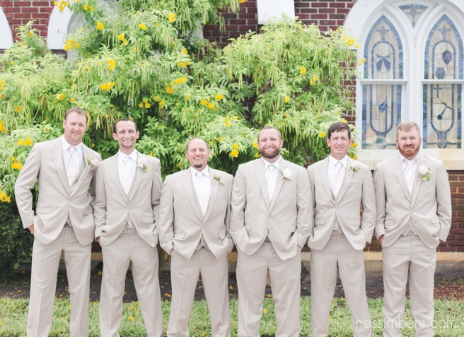 groomsmen in cream suits by nassimbeni photography