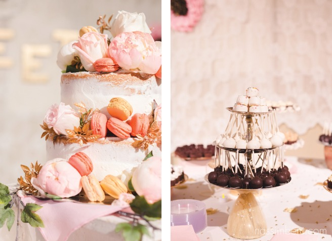 naked cake with macaroons peonies and roses