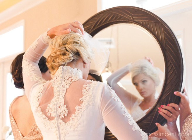 bridal prep and birdcage veil with vintage wedding dress v