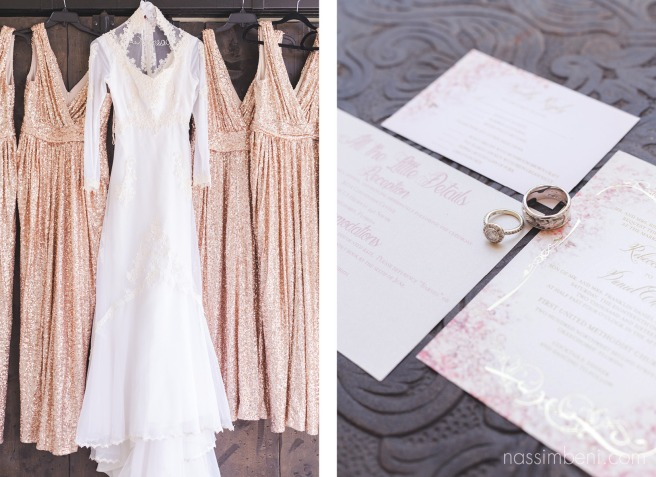 mothers vintage wedding dress with badgley mischka rose gold sequin bridesmaids dresses by nassimbeni photography