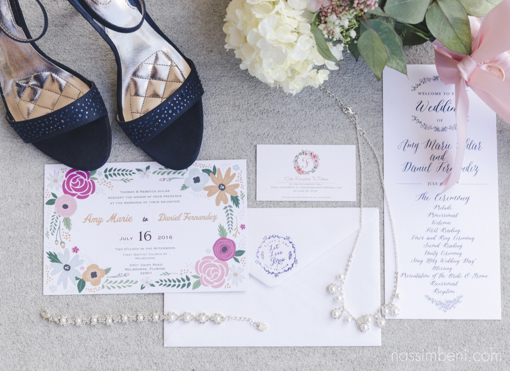 wedding stationary with bridal details in space coast wedding by nassimbeni photography