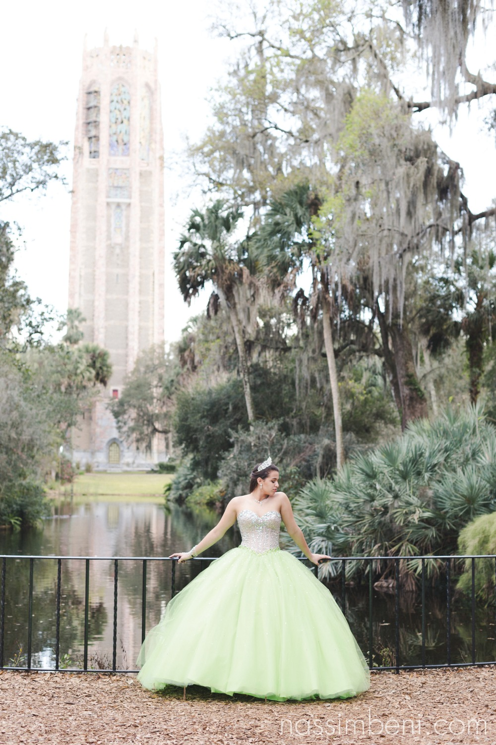 the singing bok tower and green quinceanera dress by nassimbeni photography