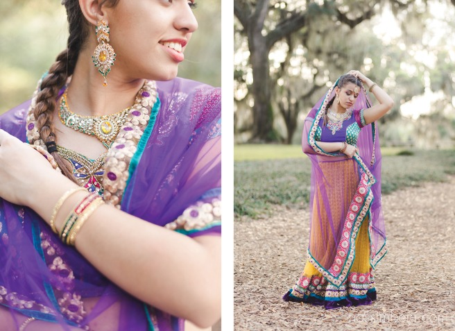 indian saree at bok tower gardens during golden hour by nassimbeni photography