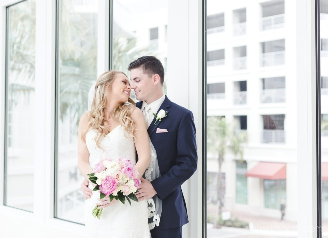 bride and groom at the grand hotel at harbourside place in jupiter fl by nassimbeni photography