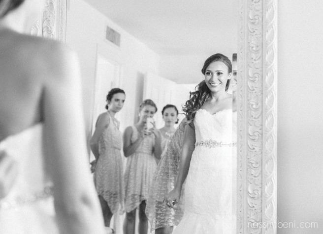 bridesmaids see bride in her gown at bellewood plantation by Nassimbeni Photography