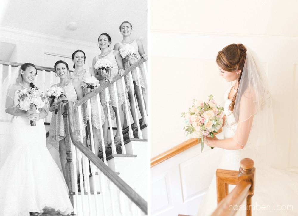 bride and bridesmaids on staircase at vero beaches best wedding venue, bellewood plantation by Nassimbeni Photography
