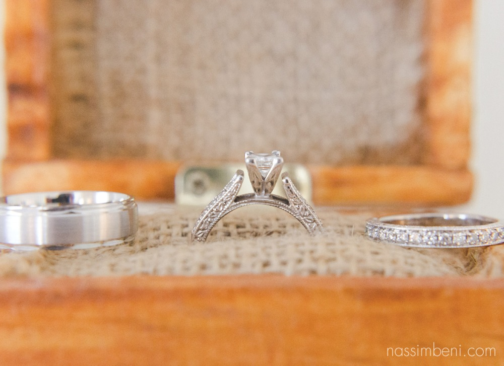 close up photo of bellewood plantation couples rings by Nassimbeni Photography