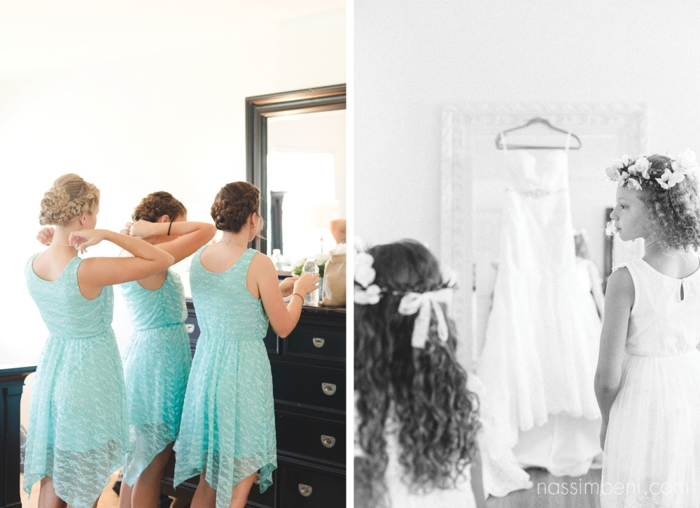 bridesmaids in tiffany blue getting ready at bellewood plantation bridal suite and flower girls infant of brides wedding dress by Nassimbeni Photography