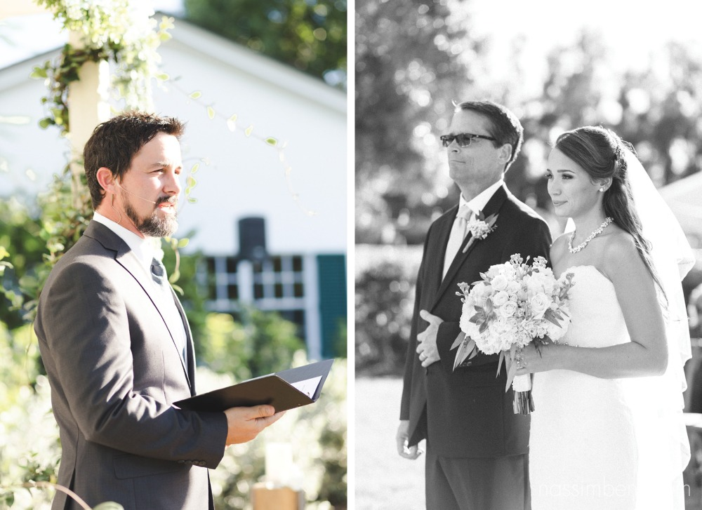 father and bride at the beginning of the ceremony at bellewood plantation by Nassimbeni Photography