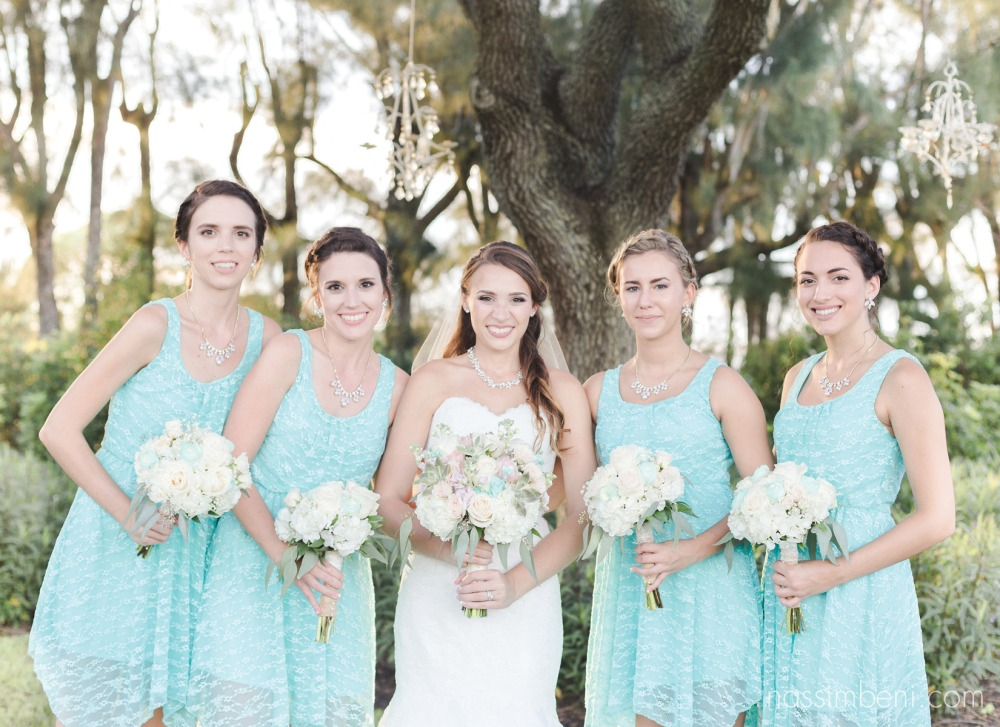 bridesmaids in tiffany blue at bellewood plantation by Nassimbeni Photography
