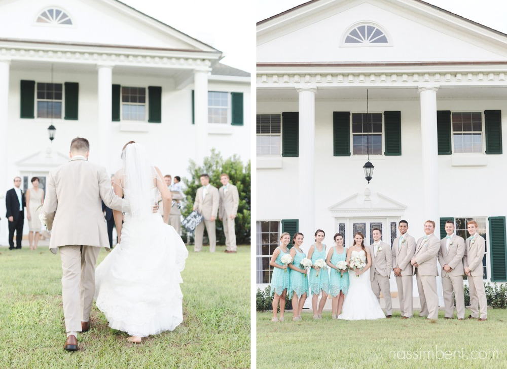 bride and groom in front of bellewood plantation by Nassimbeni Photography