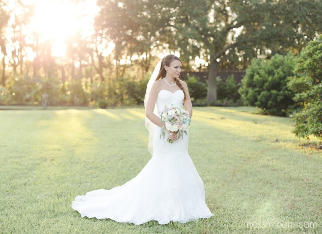 bride in glowy sunset light at bellewood plantation by Nassimbeni Photography