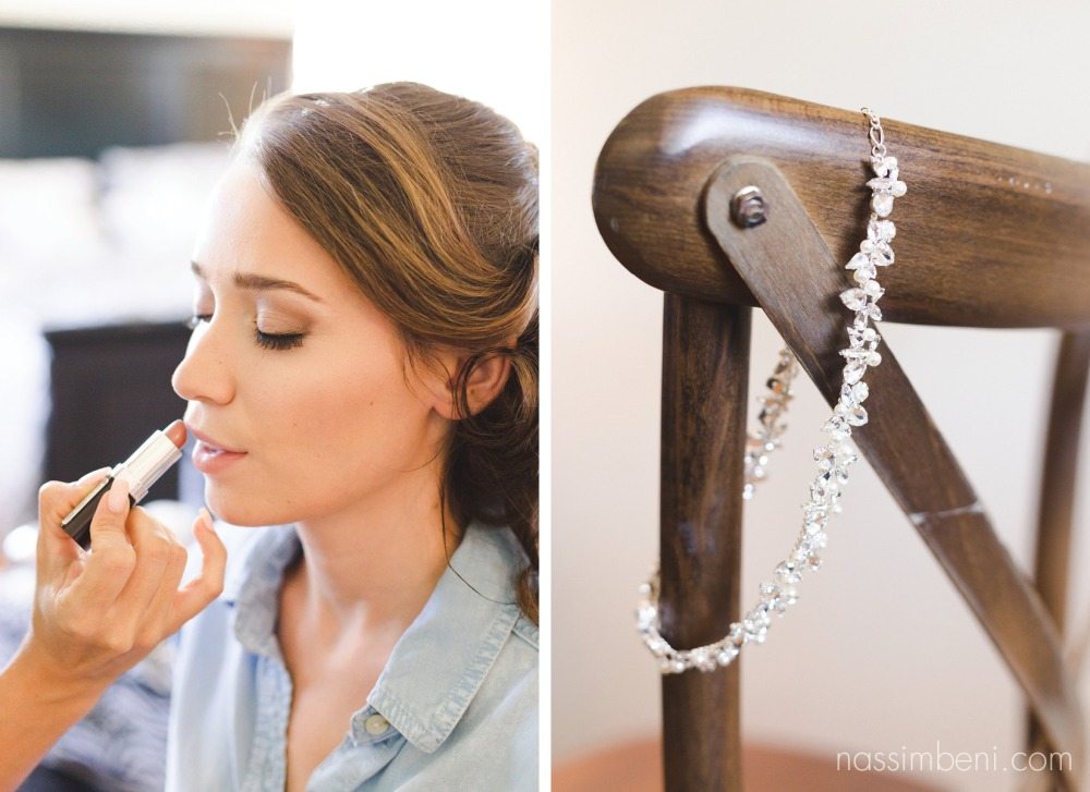 bride prep photo at bellewood plantation and necklace hands on chair by Nassimbeni Photography