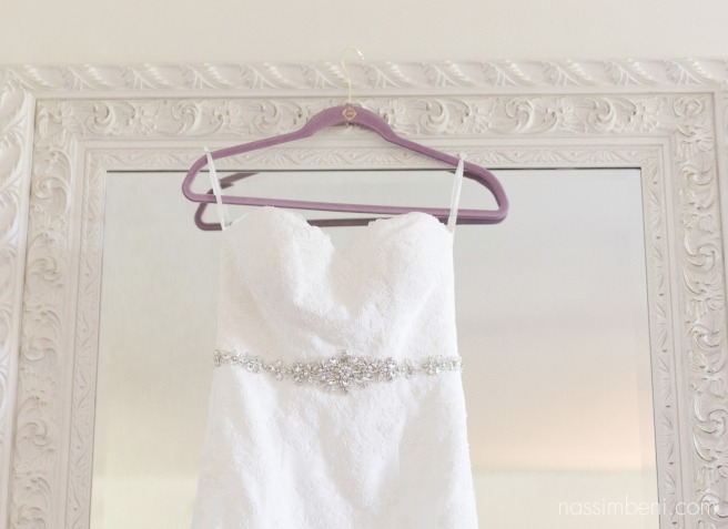 wedding gown hangs from white large frame by Nassimbeni Photography at bellewood plantation venue
