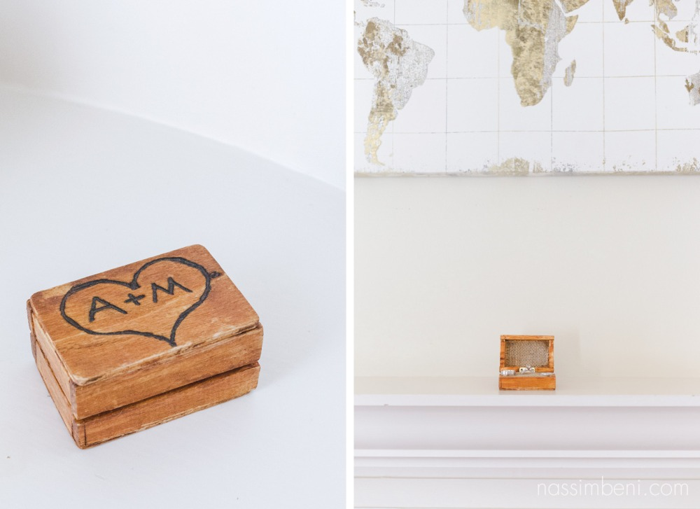 hand made wooden box for groom to propose to his bride in the spare living room of Vero Beaches Bellewood Plantation wedding venue by Nassimbeni Photography